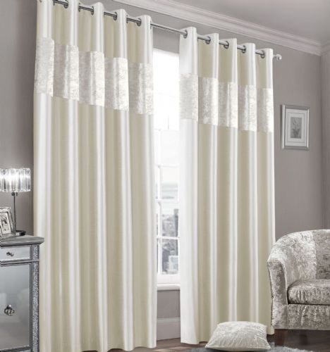 Stylish Faux Silk Crushed Velvet Modern Textured Ringtop Eyelet Pair Of Curtains Cream Colour